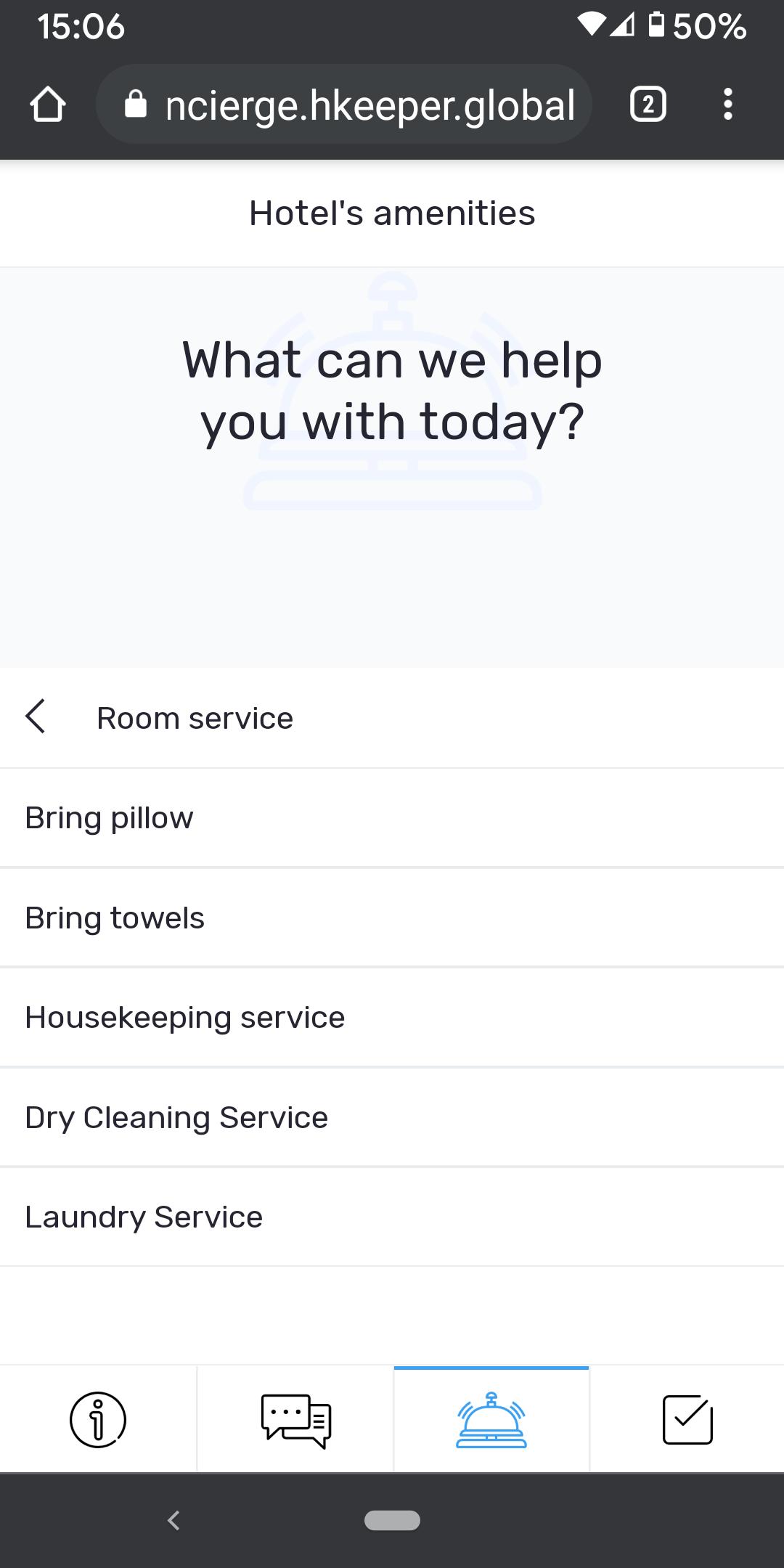 HKeeper Virtual Concierge Room Service